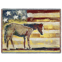 Horse Red White Blue - Michael Swearngin - Cotton Woven Blanket Throw - Made in the USA (72x54) Tapestry Throw