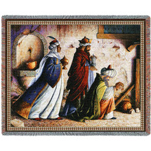 Christmas Three Kings - Lynn Bywaters - Cotton Woven Blanket Throw - Made in the USA (72x54) Tapestry Throw