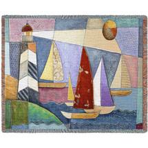 Bay Regatta - Cotton Woven Blanket Throw - Made in the USA (72x54) Tapestry Throw