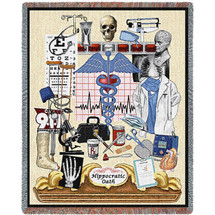 Hippocratic Oath - Physician - Cotton Woven Blanket Throw - Made in the USA (72x54) Tapestry Throw