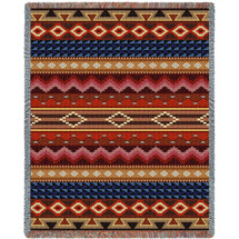Yuma - Southwest Native American Inspired Tribal Camp - Cotton Woven Blanket Throw - Made in the USA (72x54) Tapestry Throw