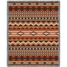Domingo - Southwest Native American Inspired Tribal Camp - Cotton Woven Blanket Throw - Made in the USA (72x54) Tapestry Throw