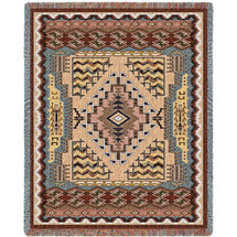Butte Clay - Southwest Native American Inspired Tribal Camp - Cotton Woven Blanket Throw - Made in the USA (72x54) Tapestry Throw