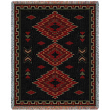 Taos - Southwest Native American Inspired Tribal Camp - Cotton Woven Blanket Throw - Made in the USA (72x54) Tapestry Throw