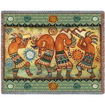 Koko Quartet II - Kokopelli - Southwest - Donna Polivka - Cotton Woven Blanket Throw - Made in the USA (72x54) Tapestry Throw