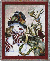 Snowman and Prancer - Donna Race - Cotton Woven Blanket Throw - Made in the USA (72x54) Tapestry Throw