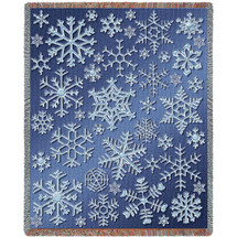 Snowflakes - Cotton Woven Blanket Throw - Made in the USA (72x54) Tapestry Throw
