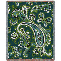 Paisley Teal Tapestry Throw