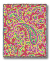 Paisley - Pink - Tapestry Throw