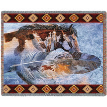 Horse Feathers - Southwest - Kathy Morrow - Cotton Woven Blanket Throw - Made in the USA (72x54) Tapestry Throw
