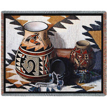 Kokopelli Pot - Southwest Crafts - Judith Durr - Cotton Woven Blanket Throw - Made in the USA (72x54) Tapestry Throw