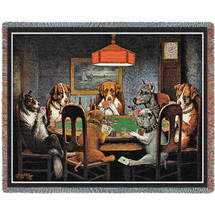 Dogs Playing Poker - A Friend in Need - Cassius Marcellus Coolidge - Cotton Woven Blanket Throw - Made in the USA (72x54) Tapestry Throw