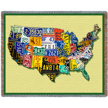 United States  CarTags National Map Tapestry Throw