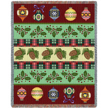 Christmas Banding - Cotton Woven Blanket Throw - Made in the USA (72x54) Tapestry Throw