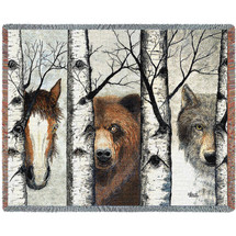 Trio Horse Bear Wolf - Tapestry Throw