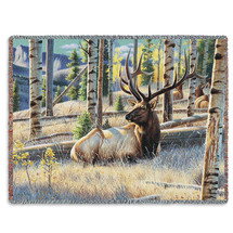 Morning View Elk - Tapestry Throw