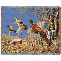 High Field Pheasants Hunting  - Tapestry Throw