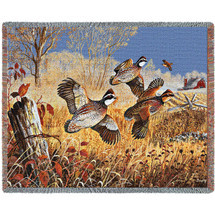 Back Forty Flush Quail - Tapestry Throw
