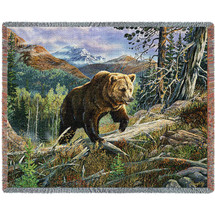 Over the Top Brown Bear - Tapestry Throw