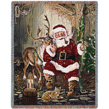 Christmas Time to Go- Terry Doughty - Cotton Woven Blanket Throw - Made in the USA (72x54) Tapestry Throw