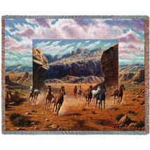 Running Horses - Southwest Scenic - Cotton Woven Blanket Throw - Made in the USA (72x54) Tapestry Throw