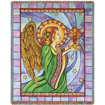 Stained Glass Angel - Tapestry Throw