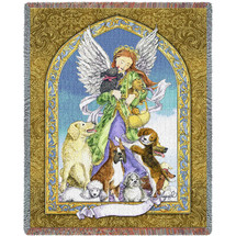 Angel and Dogs - Tapestry Throw