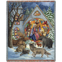 Snowfall Nativity - Parker Fulton - Cotton Woven Blanket Throw - Made in the USA (72x54) Tapestry Throw