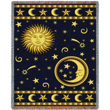 Sun Face and Moon Face - Cotton Woven Blanket Throw - Made in the USA (72x54) Tapestry Throw