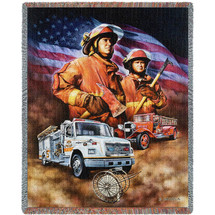 Fire Department Firefighters - Dan Hatala - Cotton Woven Blanket Throw - Made in the USA (72x54) Tapestry Throw