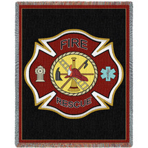 Fire Department Firefighter Shield - Cotton Woven Blanket Throw - Made in the USA (72x54) Tapestry Throw