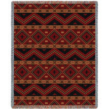 Mesilla - Southwest Native American Inspired Tribal Camp - Cotton Woven Blanket Throw - Made in the USA (72x54) Tapestry Throw