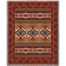 Las Cruces - Teal - Southwest Native American Inspired Tribal Camp - Cotton Woven Blanket Throw - Made in the USA (72x54) Tapestry Throw
