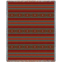 Saddleblanket - Red - Southwest Native American Inspired Tribal Camp - Cotton Woven Blanket Throw - Made in the USA (72x54) Tapestry Throw