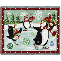 Christmas Penguins - Jennifer Brinley - Cotton Woven Blanket Throw - Made in the USA (72x54) Tapestry Throw