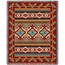 Las Cruces - Turquoise - Southwest Native American Inspired Tribal Camp - Cotton Woven Blanket Throw - Made in the USA (72x54) Tapestry Throw