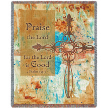 Praise Crosses - Praise The Lord For The Lord Is Good - Scriptures - Psalm 135:3 - Tapestry Throw