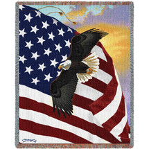 United States American Flag with Eagle - Majestic - Derk Hanson - Cotton Woven Blanket Throw - Made in the USA (72x54) Tapestry Throw
