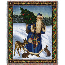 Father Christmas - Blue - Cotton Woven Blanket Throw - Made in the USA (72x54) Tapestry Throw