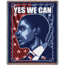 Barack Obama - Yes We Can - Cotton Woven Blanket Throw - Made in the USA (72x54) Tapestry Throw