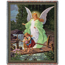 Guardian Angel and Children Crossing Bridge - Lindberg Heilige Schutzengel  - Tapestry Throw