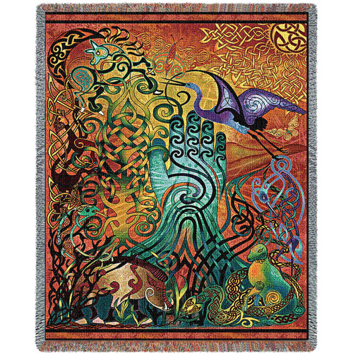 Awen - Celtic - Jen Delyth - Cotton Woven Blanket Throw - Made in the USA (72x54) Tapestry Throw