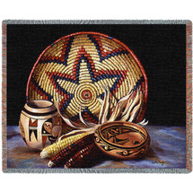 Hopi Harvest - Southwest - Cotton Woven Blanket Throw - Made in the USA (72x54) Tapestry Throw