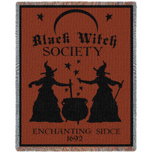 Black Witch Society - Cotton Woven Blanket Throw - Made in the USA (72x54) Tapestry Throw