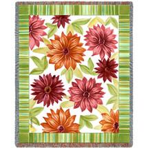 Floral Dahlias - Tapestry Throw