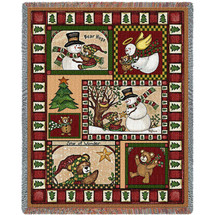 Christmas Bear Patchwork Quilt - Cotton Woven Blanket Throw - Made in the USA (72x54) Tapestry Throw