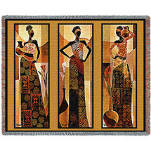 Namirya - African Style - Keith Mallett - Cotton Woven Blanket Throw - Made in the USA (72x54) Tapestry Throw