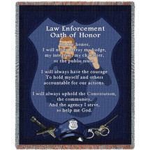 Police Department - Police Enforcement Oath of Honor - Cotton Woven Blanket Throw - Made in the USA (72x54) Tapestry Throw