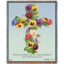 Pansy Cross -  Come To Me All You Who Are Weary And Burdened And I Will Give You Rest - Scriptures - Matthew 11:28 - Sympathy - Tapestry Throw