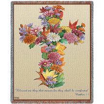 Autumn Leaves - Blessed Are Those Who Mourn For They Will Be Comforted - Scriptures - Matthew 5:4 - Sympathy - Tapestry Throw